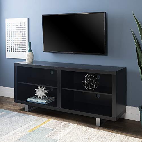 WE Furniture AZ58SMCSB Modern Open Shelf TV Stand, Black
