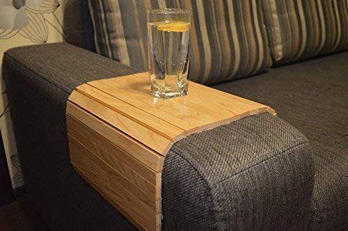 sofa arm table 18x12 inches couch tray wooden armrest organizer flexible coffee tea wood stand under armchair folding drink holder for round and