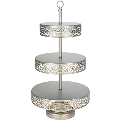 """'Victoria Collection' 3 Tier Dessert Stand with Reversible Tiers, Cupcake Tower Display, 22"""" Tall (Silver)"""