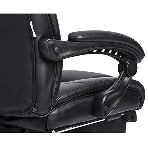KADIRYA Reclining Leather Office Chair - High Back Executive Chair with Adjustable Angle Recline Locking System and Footrest, Thick Padding for Comfort and Ergonomic Design for Lumbar Support-Black by KADIRYA (Image #7)