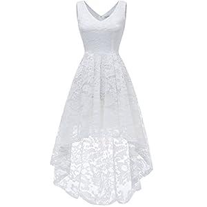 2f2d368055fb08 MUADRESS 6666 Sleeveless Hi-Lo Lace Formal Dress Cocktail Party Dress V  Neck L White