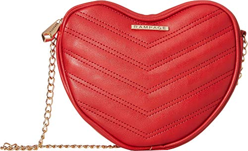Rampage Womens Heart Shaped Quilted Crossbody Red One ()