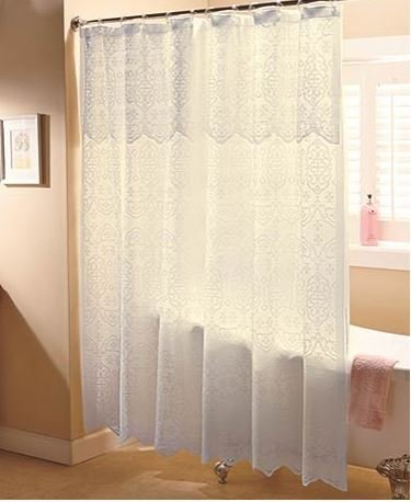 Amazon.com: Ivory Lace Shower Curtain with Liner: Home & Kitchen