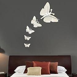 Hatop 22X19CM Fashion Butterfly Clock DIY Mirror Wall Mirrors Wall Sticker Home Decoration