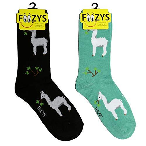 Foozys Women's Crew Socks   Alpacas Zoo Animal Novelty Socks   2 Pair ()