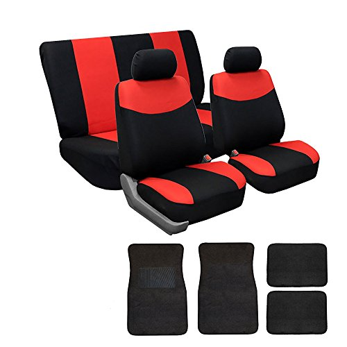 FH GROUP FH-FB056112 + C14403 Combo Set: Red Modern Flat Cloth Seat Covers and Black Carpet Floor Mats