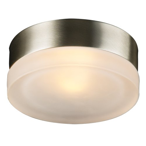 (PLC Lighting 6571 SN 1-Light Wall/Ceiling Fixture Metz Collection, Froated Glass and Satin Nickel Finish)