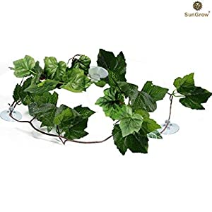SunGrow Natural Looking Reptile Plants - Vibrant Green Terrarium Plastic Plants 6.5ft Easy to Clean Silk Leaves - Creates Natural Hiding Spot for Reptiles and Amphibians - Suction Cups Included 111