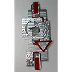 Silver and Scarlet Red Wall Clock - Functional Art - Hanging Abstract Metal Wall Clock Sculpture - Scarlet Times Clock By Jon Allen - 37-inch