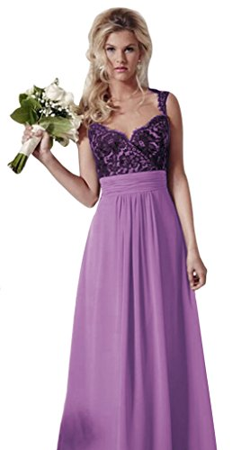 Chiffon Gown Line Bridal Lilac reg A Long 2016 Lace Aurora Bridesmaid Wedding Dresses P0H11