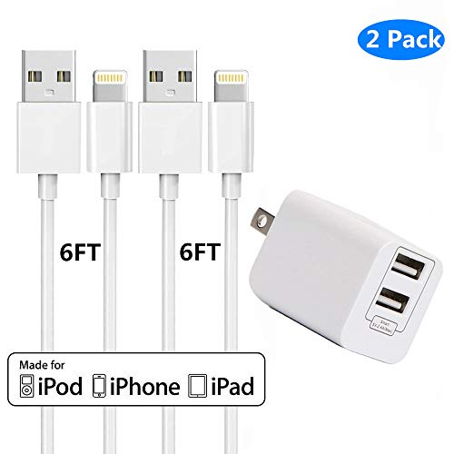 Wall Chargers with 2x6 FT iPhone Charging Cables,Sharllen Dual Port USB Plug Power Adapter Travel iPhone Charger Cord Compatible iPhone Xs/Max/XR/X/8 Plus/8/7/7Plus/6s P/6/6P/iPad/iPod White 2 Pack