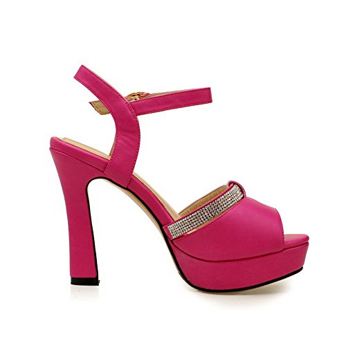 VogueZone009 Womens Open Peep Toe High Heel Platform PU Soft Material Solid Sandals with Glass Diamond Red 9k9xvWusOf