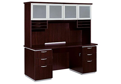 Pimlico Kneespace Credenza with Hutch Mocha Finish Dimensions: 72''W x 24''D x 72''H Weight: 524 lbs by DMI Furniture