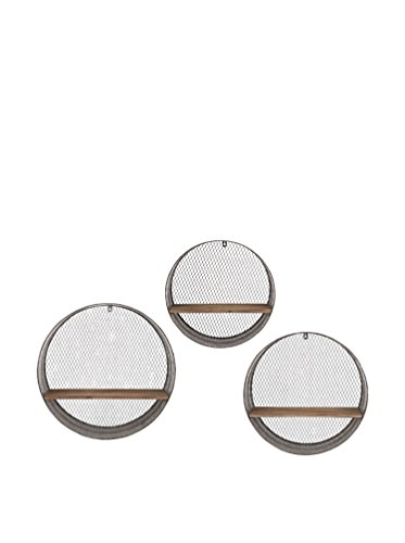 IMAX 65320-3 Laurel Round Wall Shelves, Set of 3 - Imax 65320-3 Laurel Round Wall Shelves - Set of 3 A trio of round wall shelves makes the most of the found object look Made of iron with a fir wood shelf - wall-shelves, living-room-furniture, living-room - 418u850x6rL -