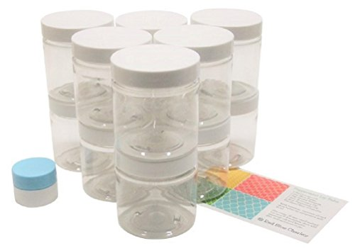 Clear 8 oz Plastic Jars with White Lids (12 pk) with Mini Jar - PET Round Refillable Containers