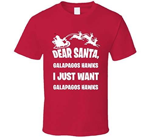 (Dear Santa Galapagos Hawks I Just Want Galapagos Hawks Animal Lover T Shirt L Red )