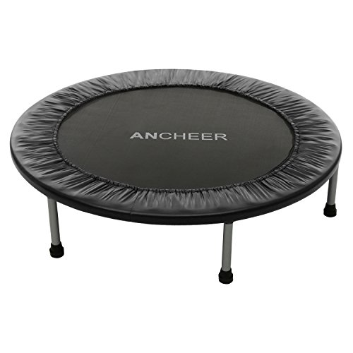 ANCHEER Max Load 220lbs Rebounder Trampoline with Safety Pad for Indoor Garden Workout Cardio Training 40 inch Foldable Black (Black)