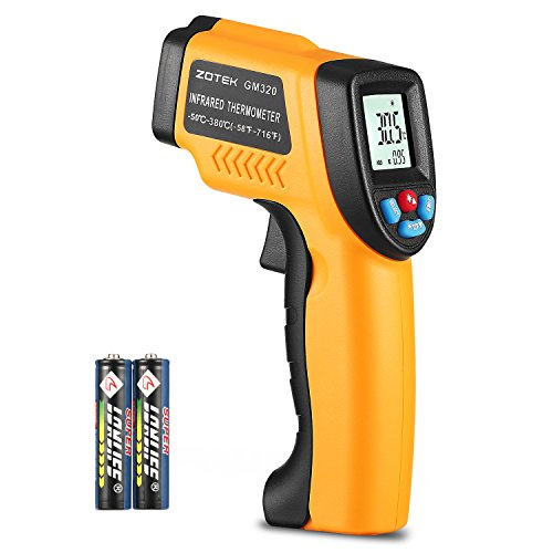 Laser Digital Infrared Thermometer, Cooking Thermometer Non-Contact Temperature Indicator With Probe,High Accuracy Temperature Gun -58~ 716 (-50 ~ 380) Orange and Black