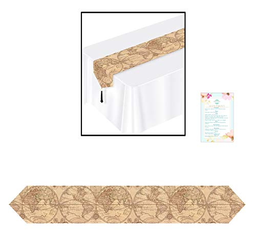 3 Paper Around The World 6ft Table Runners - Great for Travel Themed Showers, Parties, and Events- (with Party Planning -