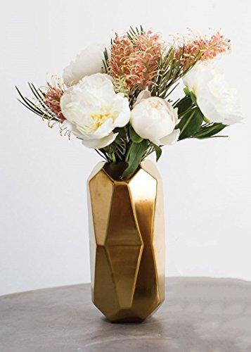 Maven Ceramic Geometric Cylinder Floral Vase in Gold - 8