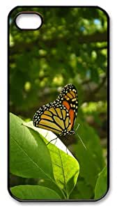 cover for cheap Butterfly Monarch PC Black Case for iphone 4/4S