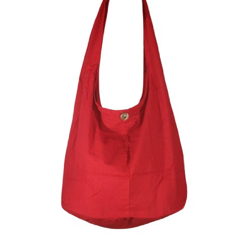 Hobo Red Purse Hippie Sling Plain Shoulder Messenger Cross Bag Color body Cotton Bag Purse 8xvHqO