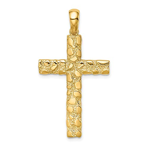 14k Yellow Gold Nugget Cross Religious Pendant Charm Necklace Latin Fancy Fine Jewelry Gifts For Women For Her