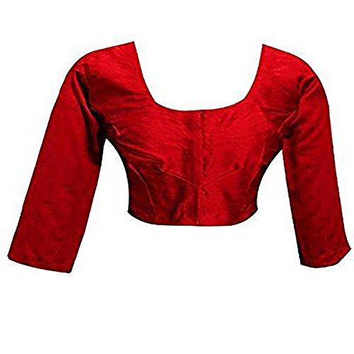 (Plain Raw Silk Ready-made Blouse Ideal Best Match for Saree Sari Lehenga Choli Crop Top by ETHNIC EMPORIUM (L, Red))