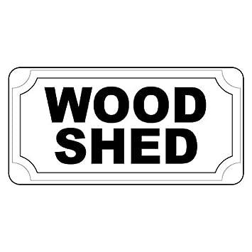 Cobertizo de madera negro - Señal de cartel de metal decoración para el hogar para exterior Patio señal de seguridad: Amazon.es: Jardín