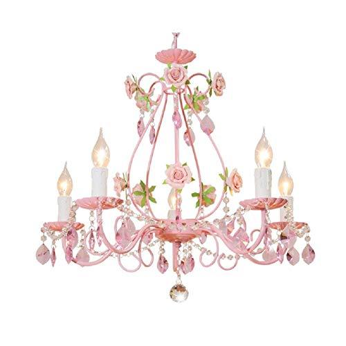 (LLYU Pink Flower Crystal Chandelier E14 Modern Wrought Iron Rose Restaurant Bedroom Living Room Hanging lamp)