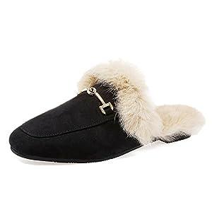 JOYMARS Women's Soft Slip-on Loafer Slides Velvet Backless Fur Mules