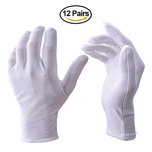 [CTK White Soft 100% Cotton Work/Lining Glove,Pack of 12 Pair] (No Budget Costumes)