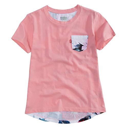 Levi's Playera Y4579 Camiseta de Manga Corta para Niñas, Color Rosa, Mediano