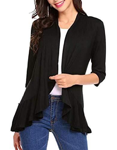 Yayu Women's 3/4 Sleeve Draped Ruffles Open Front Knit Cardigan Black L