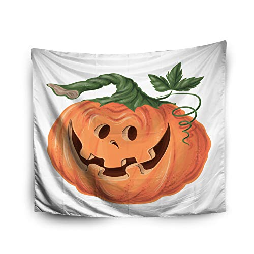 Pamime Home Decor Tapestry for Halloween Halloween Pumpkin Happy face White Background Wall Tapestry Hanging Tapestries for Dorm Room Bedroom Living Room (60x80 Inches(150x200cm) Tapestry