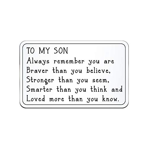 Insert Plaque - Elegant Chef Son Inspirational Gift- Always Remember You are Braver Smarter Loved Wallet Card Insert Table Plaque