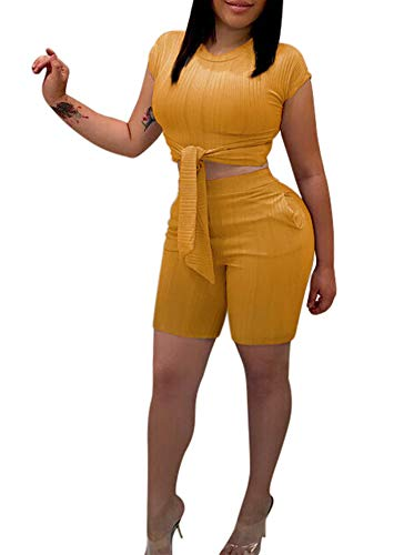 Salimdy Women's Sexy 2 Piece Outifts Short Sleeve Tie Up Crop Tops and Bodycon Shorts Pant Set Jumpsuits with Pockets Yellow