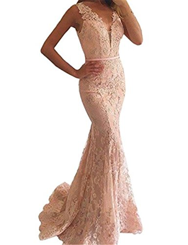 YSMei Women's Long V Neck Lace Beaded Evening Prom Dresses Mermaid Formal Party Gowns Peach Pink (Full Length Beaded Gown)