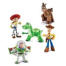 Disney Toy Story 3 Exclusive 5 Piece PVC Mini Figurine Collector Set Train Rescue Rex, Hero Buzz Lightyear, Walking Woody, Jessie & Bullseye