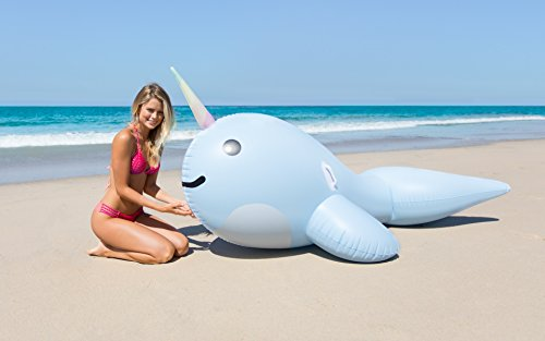 Giant Narwhal Inflatable Pool Floats: Ride On Raft Floats for Adults and Kids - Large Inflatable Pool Rafts for the Beach, Lake or Swimming Pools - Cute Animal Pool Toys for Lounging or Pool Party Fun
