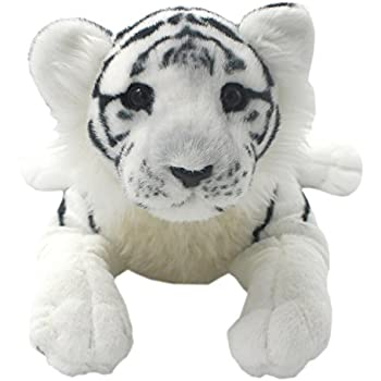 TAGLN The Jungle Animals Stuffed Plush Toys Tiger Leopard Panther Lioness Pillows (White Tiger, 16 Inch)