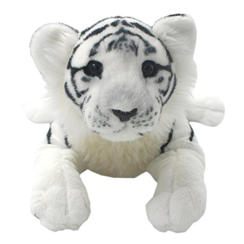 TAGLN The Jungle Animals Stuffed Plush Toys Tiger Leopard Panther Lioness Pillows (White Tiger, 16 Inch) -