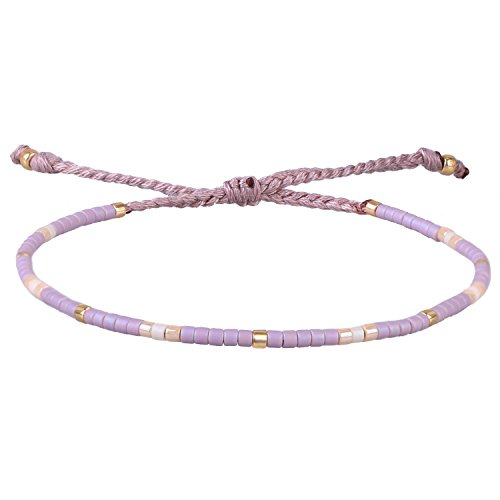 KELITCH Purple Mix Shell Beaded Wrap Bracelet Handmade Friendship Jewelry Bangles (Purple)