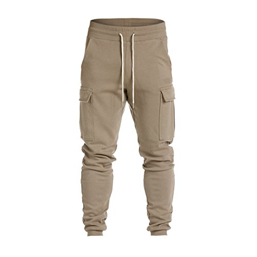 Sunhusing Men's Casual Harem Sweatpants Lace-Up Trousers Personalized Side Pockets Baggy Jogger Pants Khaki