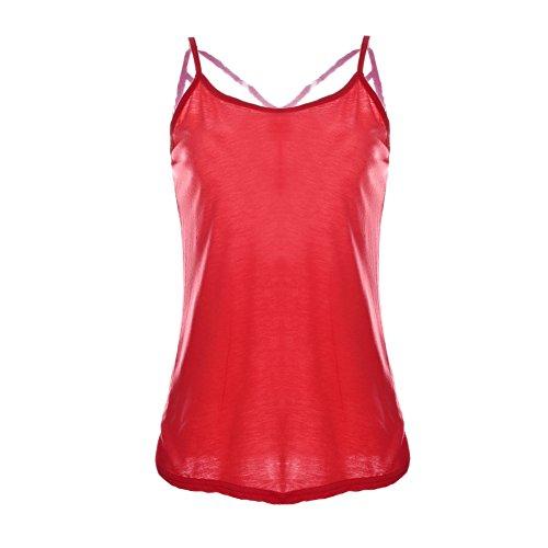 Booming Jelly - Camiseta de tirantes - Escotado por detrás - Sin mangas - para mujer Rosso