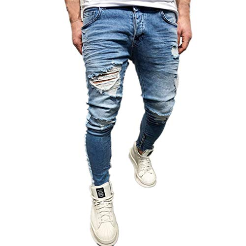 (Men's Slim Fit Jeans Straight Leg Solid Skinny Relaxing Mid Rise Stretch Denim Pants Blue)