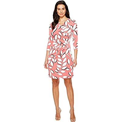 Adrianna Papell Women's V Neck 3/4 Sleeve Wrap Dress, Red/Multi, XS at Women's Clothing store