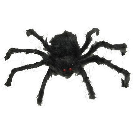 60 Inch Black Furry Poseable Spider with Color Changing Light Up LED Eyes