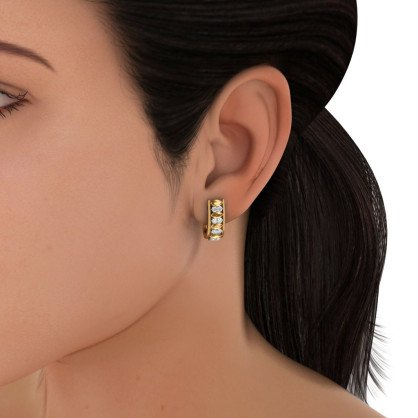 14K Or jaune 0,51carat au total White-diamond (IJ | SI) et saphir Jaune Boucles d'oreilles créoles