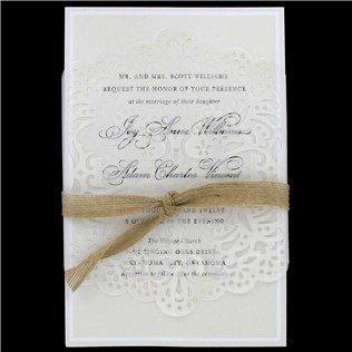 Burlap Ribbon & Lace Vellum Wedding Invi - Vellum Lace Shopping Results